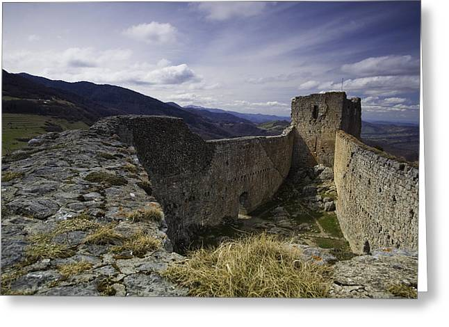 Languedoc Greeting Cards - Montsegur castle Greeting Card by Ruben Vicente