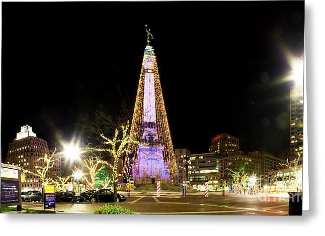 Indiana Christmas Greeting Cards - Monument Circle Christmas Tree Greeting Card by Twenty Two North Photography