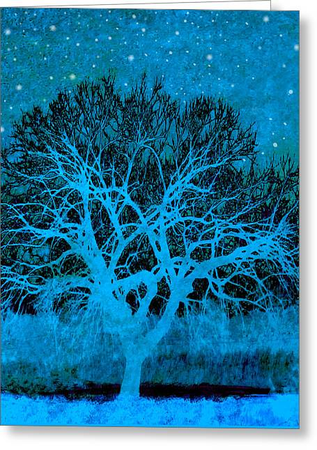 Manipulated Photography Greeting Cards - Mood Indigo Greeting Card by Ann Powell