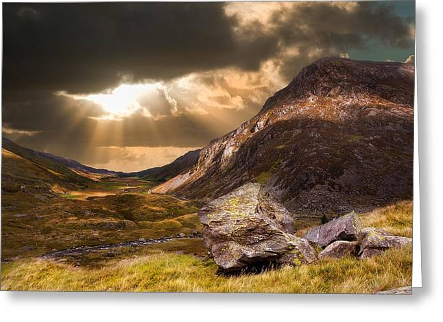 Geology Photographs Greeting Cards - Moody dramatic mountain sunset landscape Greeting Card by Matthew Gibson