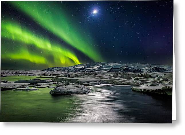 Color Green Greeting Cards - Moon And Aurora Borealis, Northern Greeting Card by Panoramic Images