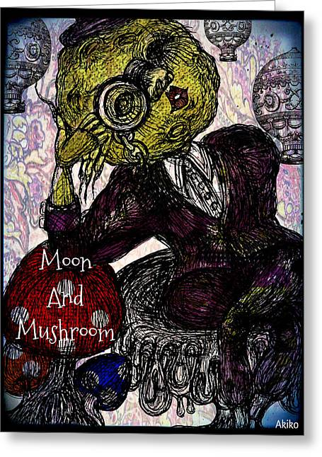 Analog Mixed Media Greeting Cards - Moon And Mushroom Greeting Card by Akiko Kobayashi