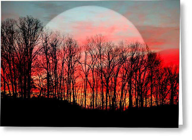 Heavenly Sunrise Greeting Cards - Moon Dance Greeting Card by Karen Wiles