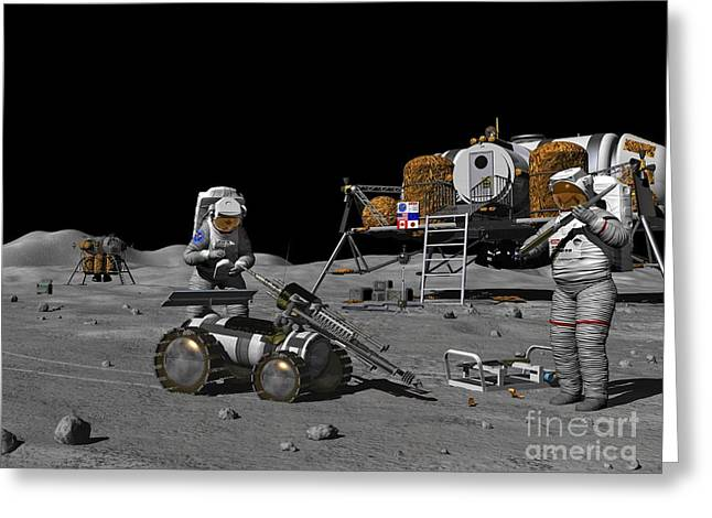 Lunar Base Greeting Cards - Moon Exploration, Artwork Greeting Card by Walter Myers