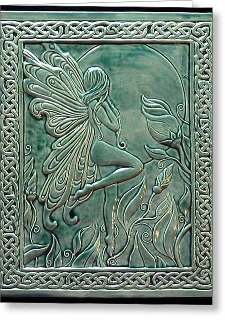 Ceramic Reliefs Greeting Cards - Moon fairy Greeting Card by Shannon Gresham