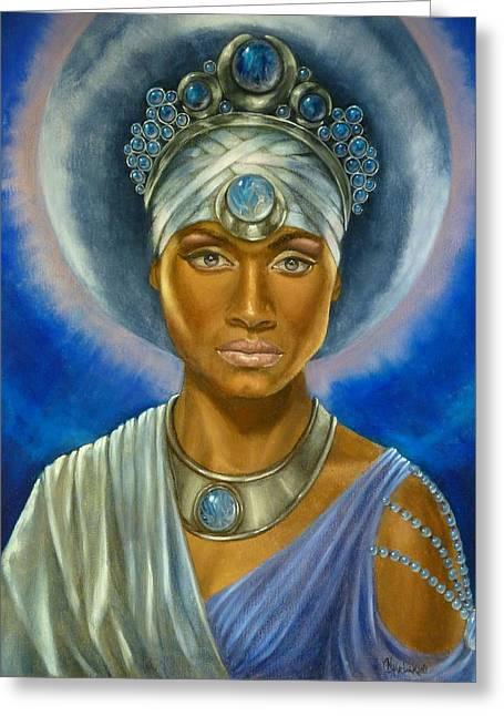 Luna Greeting Cards - Moon Goddess Greeting Card by Nancy Garbarini