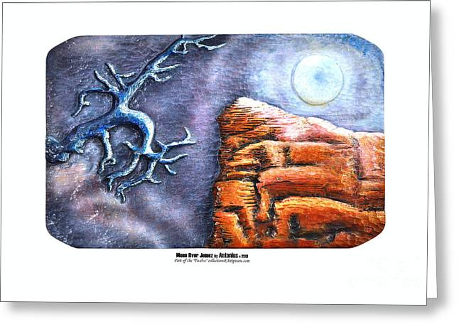Photo Reliefs Greeting Cards - Moon Over Jemez Greeting Card by ArSpirare by Antonius