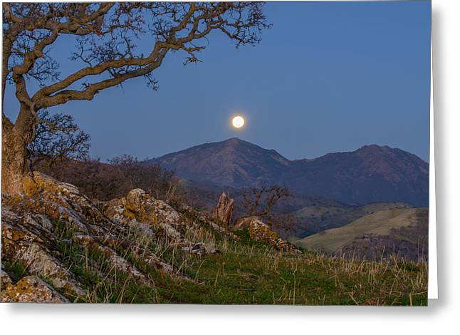 Moon Set Greeting Cards - Moon Over Mt Diablo Greeting Card by Marc Crumpler