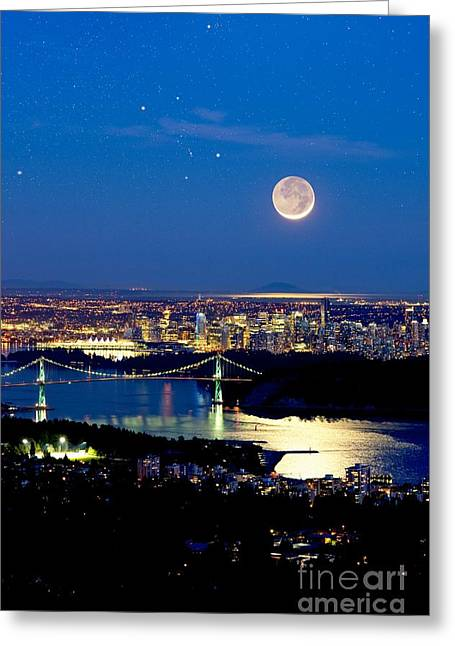 North Vancouver Greeting Cards - Moon Over Vancouver, Time-exposure Image Greeting Card by David Nunuk