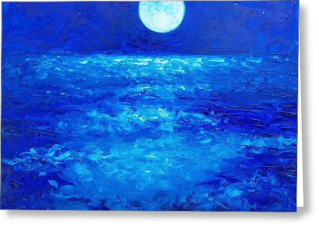 Ocean Scenes Greeting Cards - Moon Rise Greeting Card by Jan Matson