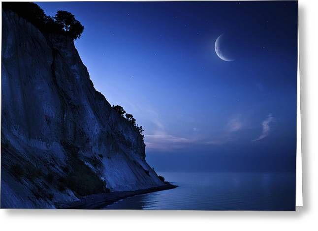 Cliffs Over Ocean Greeting Cards - Moon Rising Over Tranquil Sea And Mons Greeting Card by Evgeny Kuklev
