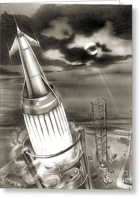 Observer Greeting Cards - Moon Rocket Launch, 1950s Artwork Greeting Card by Detlev van Ravenswaay