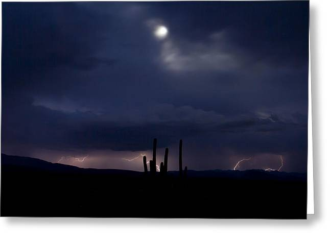 Arizona Lightning Greeting Cards - Moon Sky Greeting Card by Cathy Franklin