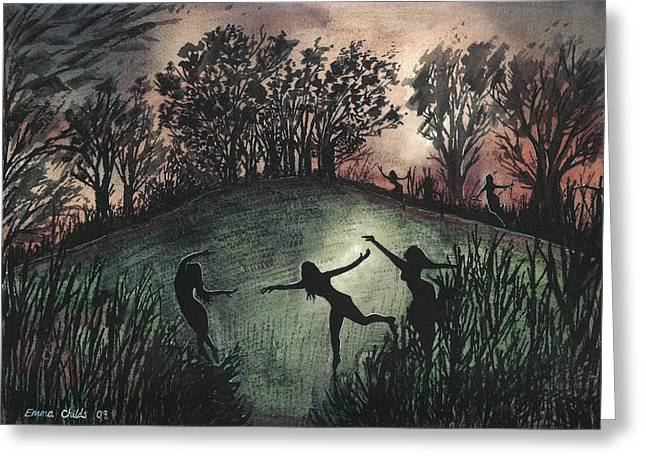 Sacrificial Paintings Greeting Cards - Moonlight Dance Greeting Card by Emma Childs