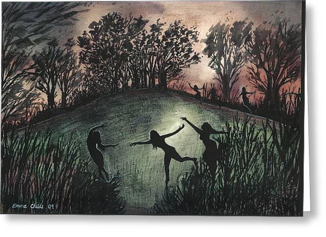 Moonlight Dance Greeting Card by Emma Childs