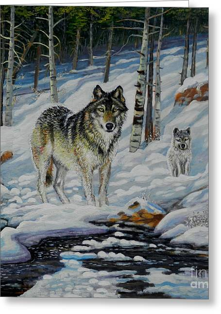 Wolf Creek Paintings Greeting Cards - Moonlight Wolf and Pup Greeting Card by Denis Grosjean