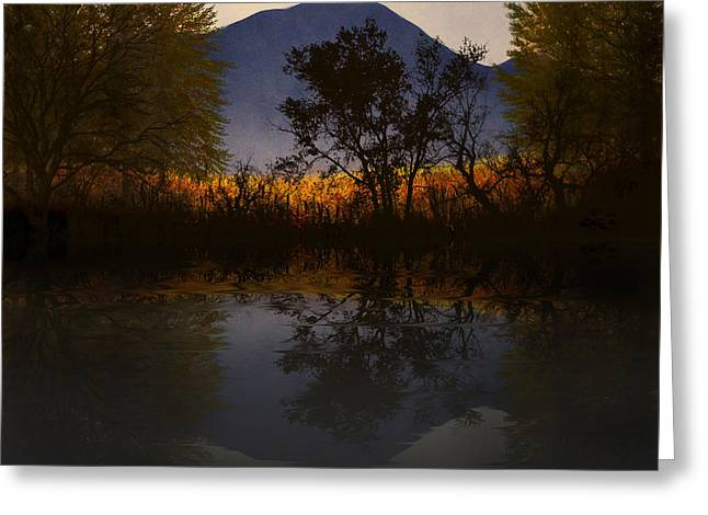 Reflection In Water Mixed Media Greeting Cards - Moonlit Mountain Meadow Greeting Card by Frank Wilson