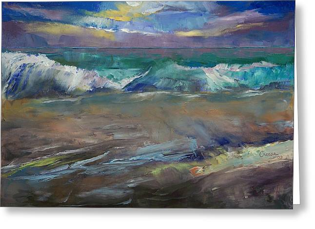 Moonlit Greeting Cards - Moonlit Waves Greeting Card by Michael Creese