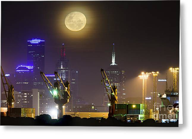 City Lights Greeting Cards - Moonrise Over City Of Melbourne Greeting Card by Philip Hart