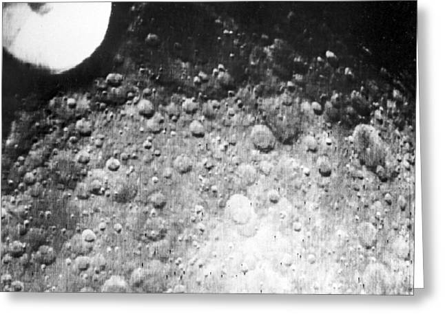 Photocopy Greeting Cards - Moons Surface, Zond 3 Image Greeting Card by RIA Novosti
