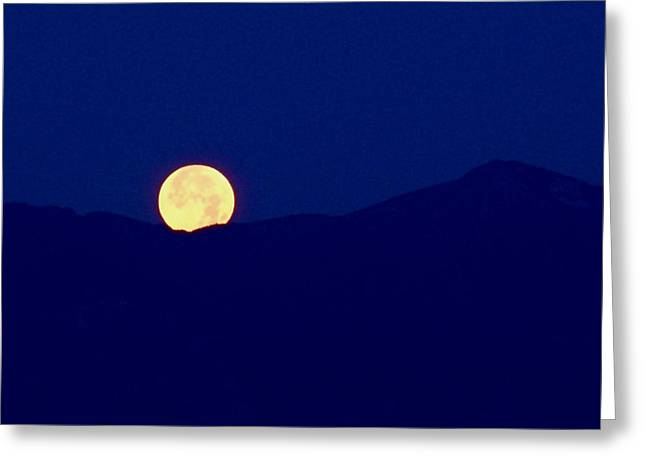 Harvest Moon Greeting Cards - Moonset Greeting Card by Rona Black