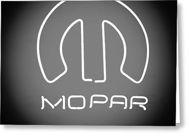 Mopar Greeting Cards - Mopar Neon Sign Greeting Card by Jill Reger