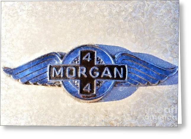 Car Mascot Paintings Greeting Cards - 1975 Morgan 4/4 1600 Greeting Card by George Atsametakis
