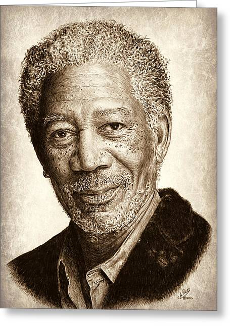 White Beard Greeting Cards - Morgan Freeman Greeting Card by Andrew Read