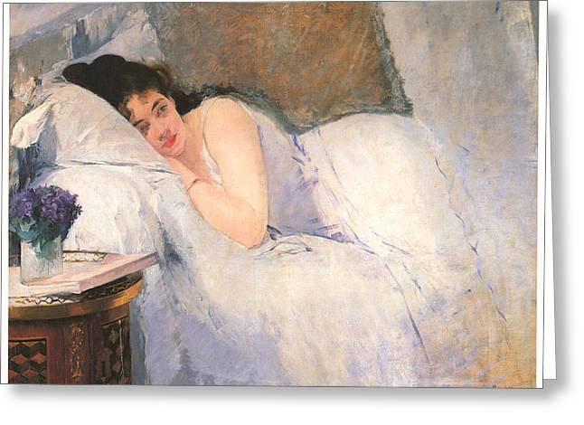 White Curtain Greeting Cards - Morning Awakening Greeting Card by Eva gonzales