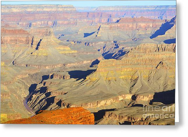 Grand Canyon Photographs Greeting Cards - Morning Color on Cliffs and Colorado River in Grand Canyon National Park Greeting Card by Shawn O