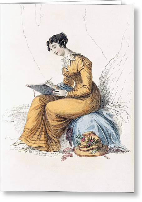 Lace Collar Greeting Cards - Morning Dress, Fashion Plate Greeting Card by English School