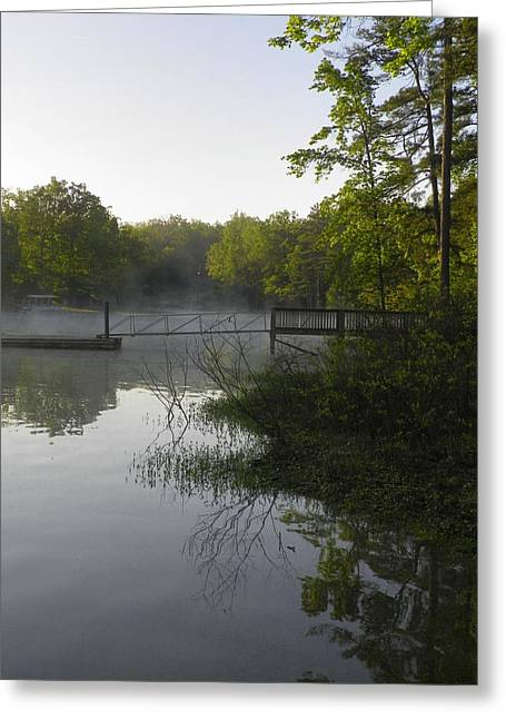 Dock Greeting Cards - Morning Fog On The Lake Greeting Card by Lisa Wooten