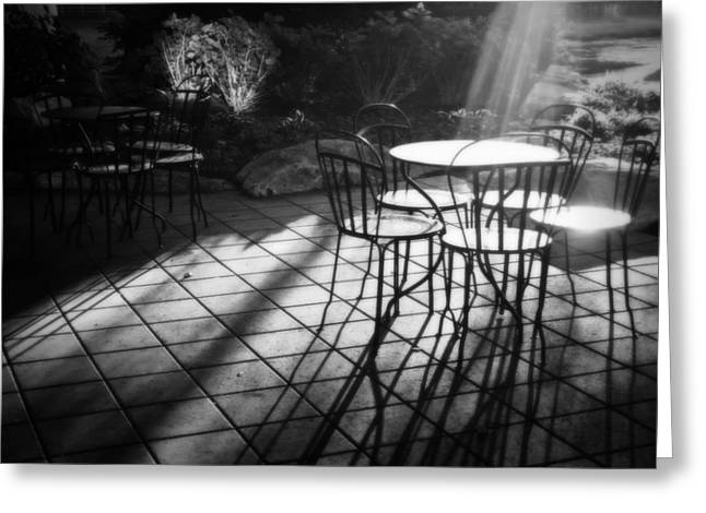 Patio Table And Chairs Photographs Greeting Cards - Morning Glory Greeting Card by Mountain Dreams