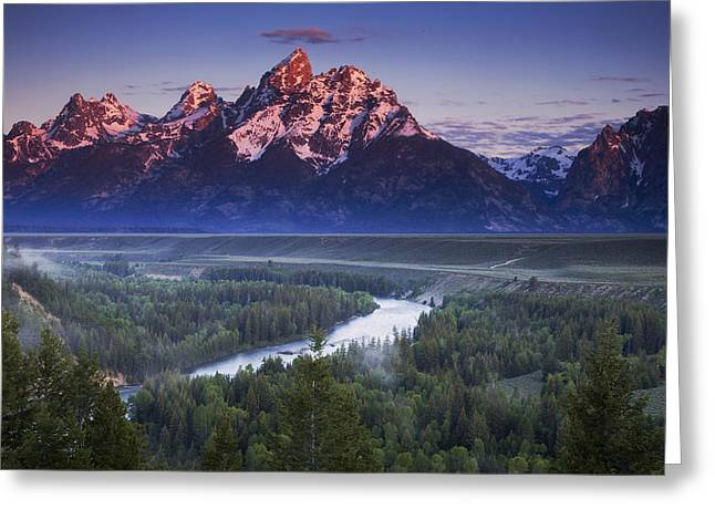 Teton Greeting Cards - Morning Glow Greeting Card by Andrew Soundarajan