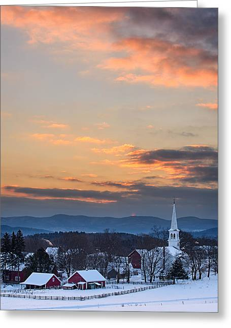 New England Village Greeting Cards - Morning Glow Greeting Card by Michael Blanchette