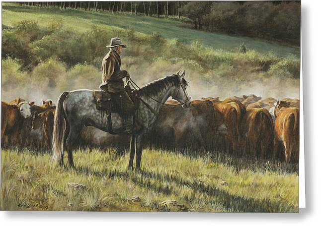 Cattle Drives Greeting Cards - Morning In the Highwoods Greeting Card by Kim Lockman