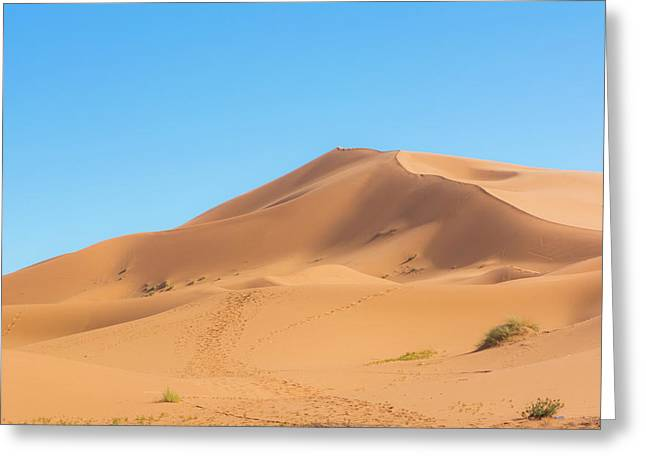 Morocco Sahara Desert Sand Dunes In Las Greeting Card by Bill Bachmann