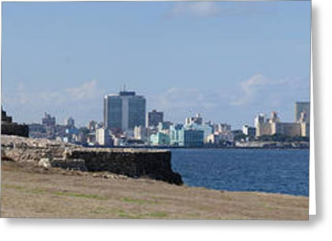 Morro Castle Greeting Cards - Morro Castle With City Greeting Card by Panoramic Images