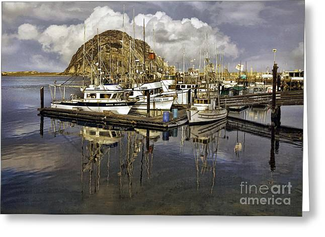 Morro Reflection Greeting Card by Sharon Foster