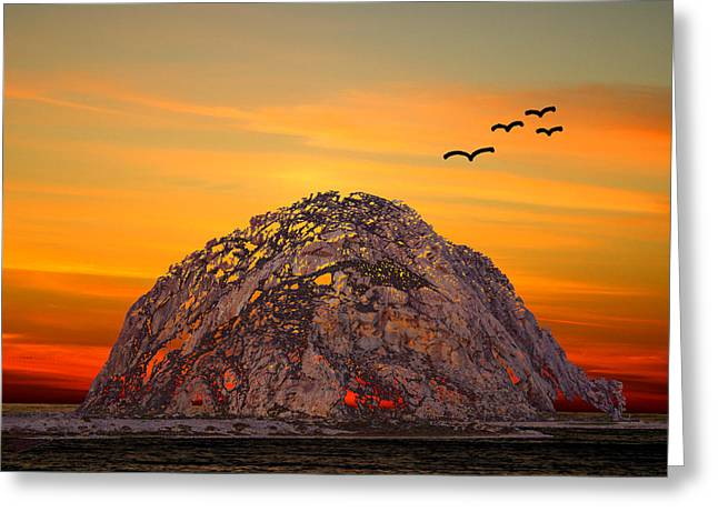 Barbara Snyder Greeting Cards - Morro Rock 3007 Greeting Card by Barbara Snyder
