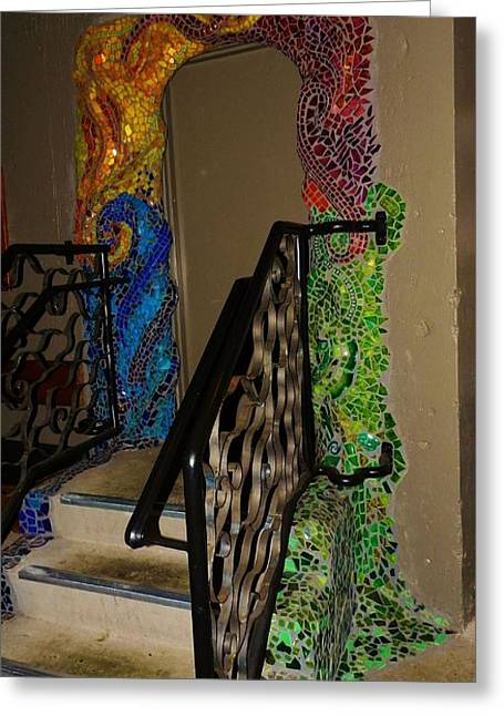 Mosaic Ceramics Greeting Cards - Mosaic Doorway Greeting Card by Charles Lucas