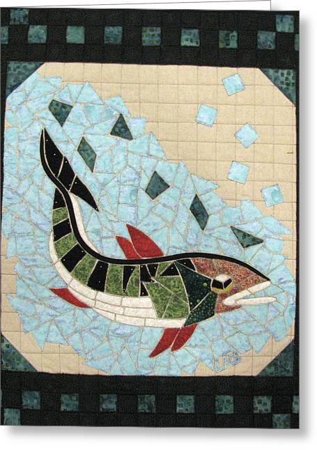 Mosaic Tapestries - Textiles Greeting Cards - Mosaic Fish Greeting Card by Lynda K Boardman