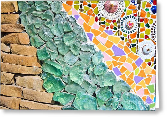 Ceramic Glass Greeting Cards - Mosaic Texture  Greeting Card by Niphon Chanthana