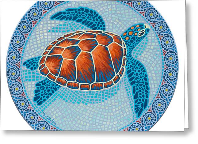 Round Table Greeting Cards - Mosaic Turtle Greeting Card by Danielle  Perry
