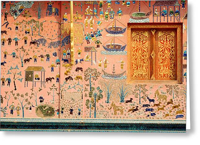 Religious Pictures Greeting Cards - Mosaic, Wat Xien Thong, Luang Prabang Greeting Card by Panoramic Images