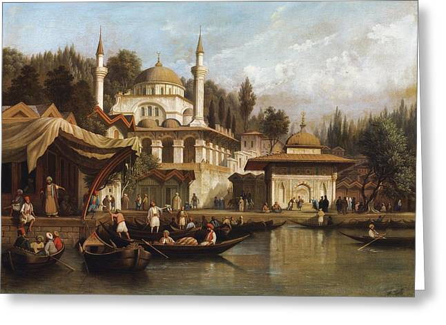 Church Synagogue Greeting Cards - Mosque Mihrimah Sultan In Istanbul Greeting Card by August Finke