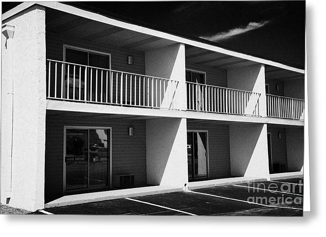 Downturn Greeting Cards - Mostly Empty Cheap Budget Motel In Kissimmee Florida Usa Greeting Card by Joe Fox