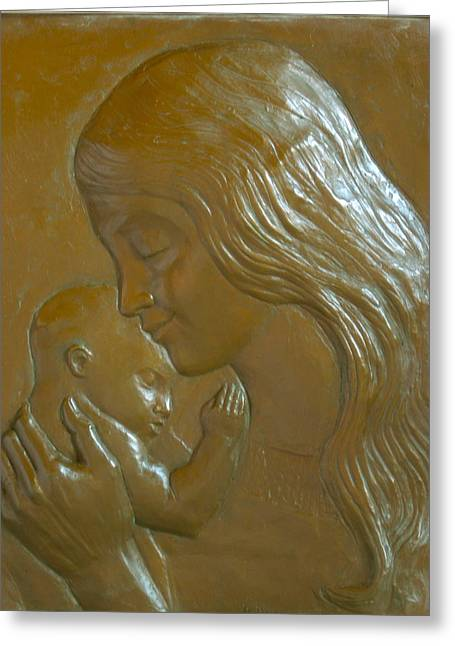 Loving Sculptures Greeting Cards - Mother and Child Greeting Card by Deborah Dendler