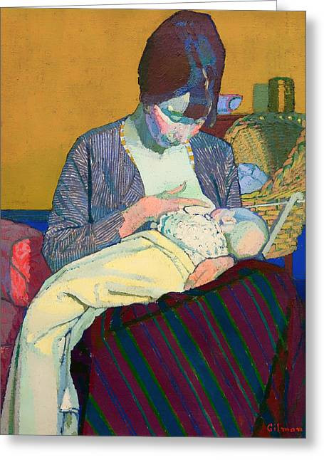 On Blanket Greeting Cards - Mother and Child Greeting Card by Harold Gilman
