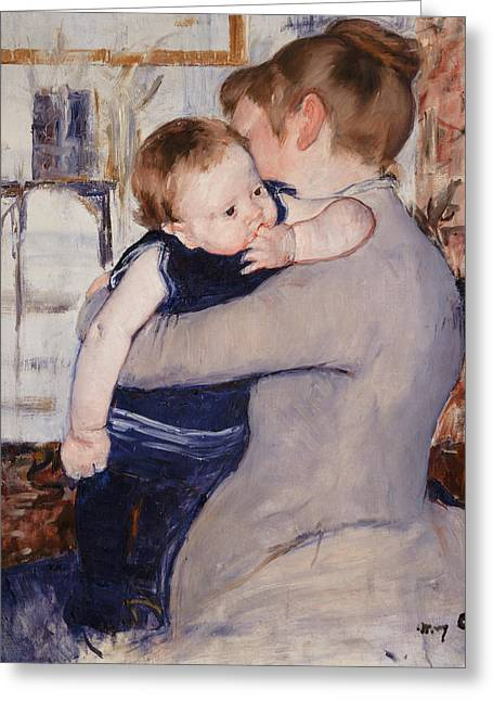 Caring Mother Paintings Greeting Cards - Mother and Child Greeting Card by Mary Stevenson Cassatt